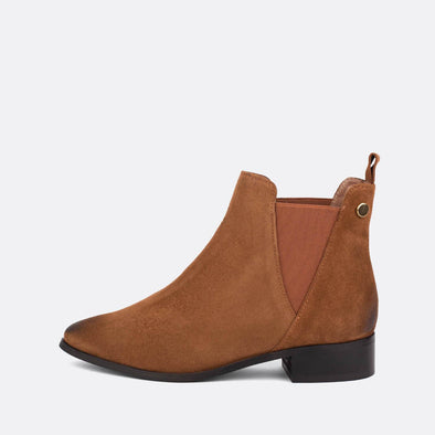 Camel suede flat ankle boots.