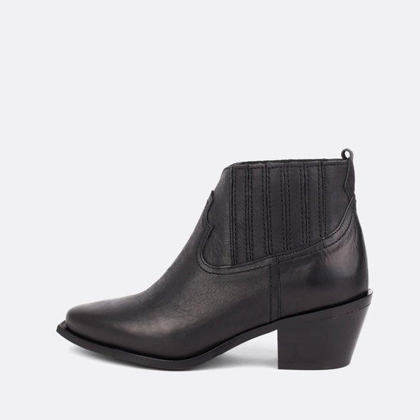 Black leather chelsea ankle boots.