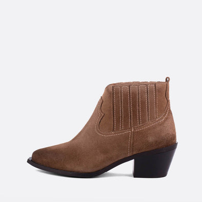 Brown suede chelsea ankle boots.
