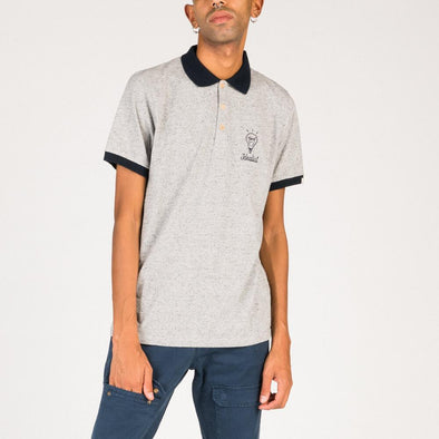 "Grey polo with ""Electrica Salsa"" lighbulb embroidery."