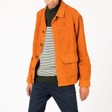 Casual shirt jacket in autumnal orange corduroy.