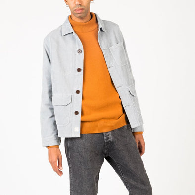 Casual shirt jacket in ice blue corduroy.