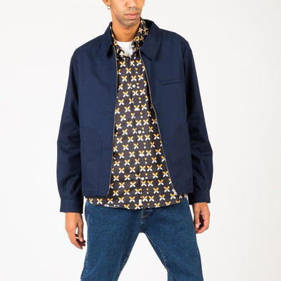 Casual bomber jacket in navy blue cotton twill.