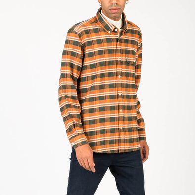 Long sleeved multi check flannel shirt in soft brushed cotton.