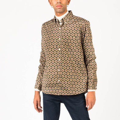 Multicolored long sleeved shirt with genuine mother of pearl buttons.