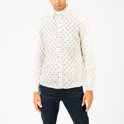 Long sleeved button down shirt in a repeat 'boozy bear' design.
