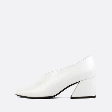 White square toe pumps in crocodile embossed leather.