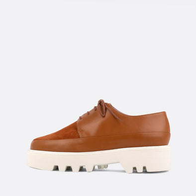 Camel lace-up creepers with bold lightweight platform sole.