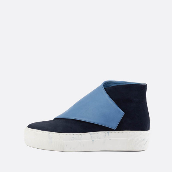 Leather and suede high-top sneakers in shades of blue.