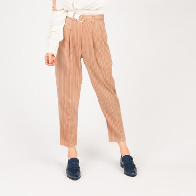 Dusty pink and white striped peg leg trousers with contrasting o-ring belt.