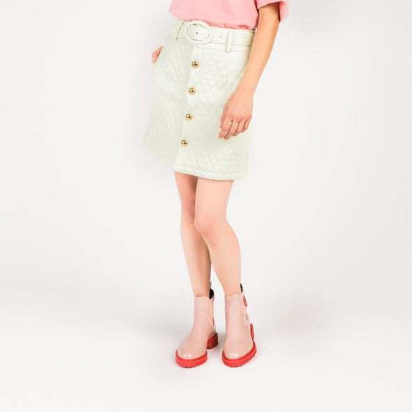 Mint quilted mini skirt with matching gentle retro belt and antique gold buttons.