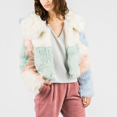 Scandinavian inspired faux fur cropped jacket in pastel hued.