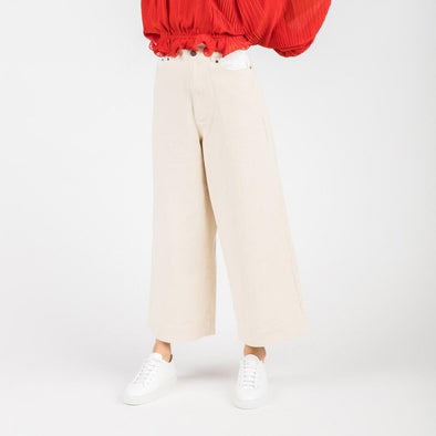 Wide leg trousers with cropped length and topstitching detail.