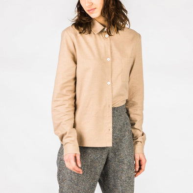 Beige regular fit long-sleeved shirt made from a blend of cotton and cashmere.