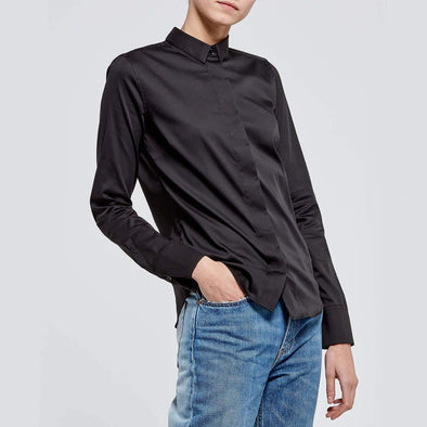 Versatile essential black shirt with a soft-touch feel.
