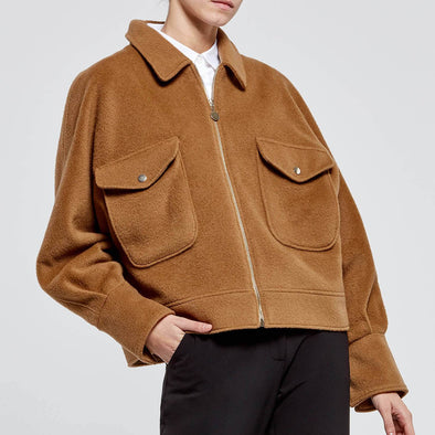 Dusty camel short boxy jacket in traditional 100% pure wool.