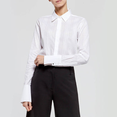Loose-fitted shirt with matte white horizontal stripes and soft transparencies.