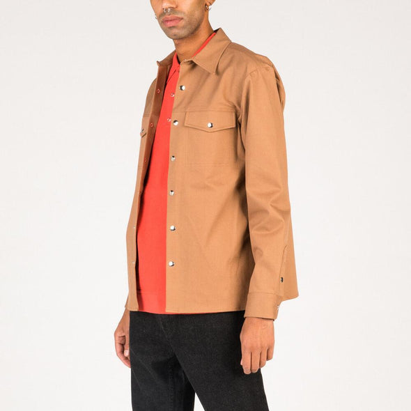 Camel canvas overshirt.