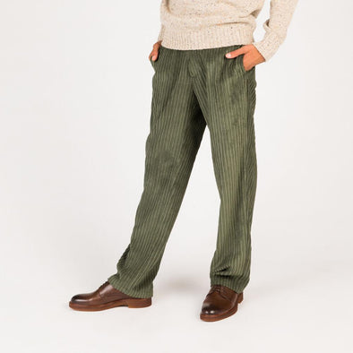 Wide whale green corduroy pants.