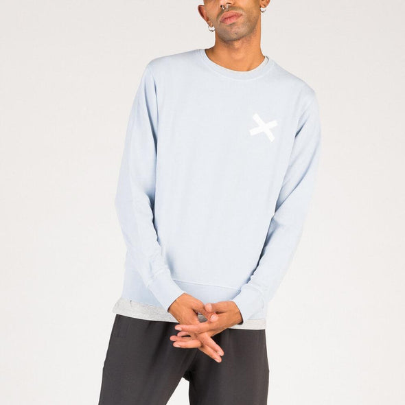 Relaxed fit cotton sweatshirt in light blue.