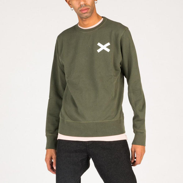 Relaxed fit cotton sweatshirt in olive green.