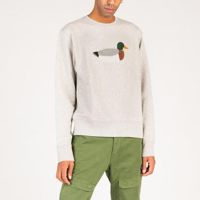 Relaxed fit grey sweatshirt with duck embroidery.
