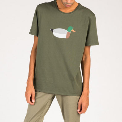 Relaxed fit olive green t-shirt with duck embroidery.