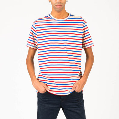 Blue and red striped tee in 100% cotton jersey.
