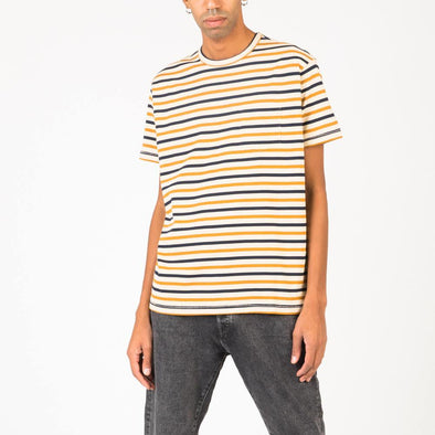 Navy blue and yellow striped tee in 100% cotton jersey.
