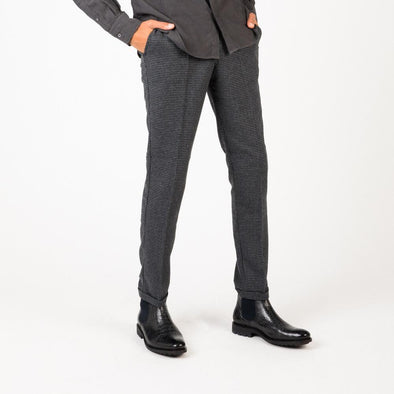 Grey slim fit trousers with back paspel pockets.