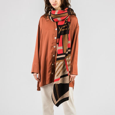 Multicolored olli plaid long scarf.