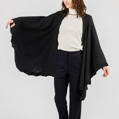 Farah plaid shawl in black.
