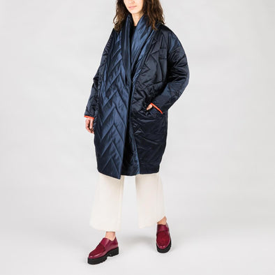 Navy blue long padded coat.