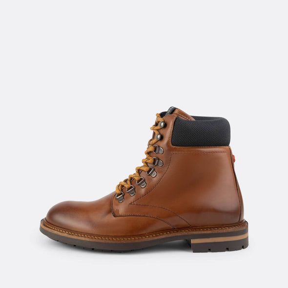 Brown leather lace-up boots with a burnished effect.
