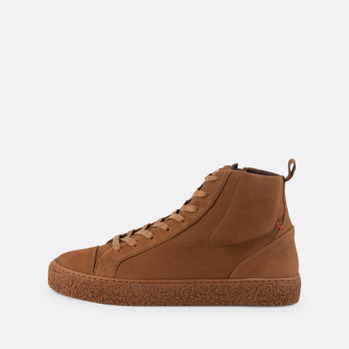 Sleek brown leather high-top sneakers with slightly oversized tongue.