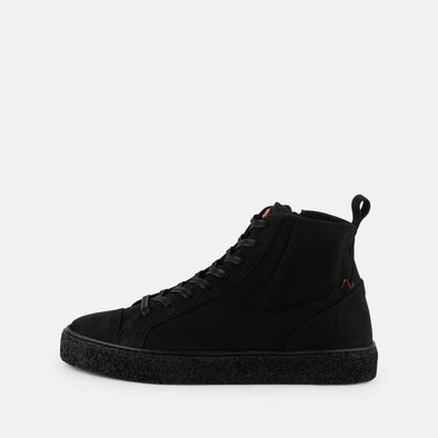 Sleek black leather high-top sneakers with slightly oversized tongue.