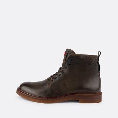 Olive leather lace-up boots with a sturdy crepe sole.