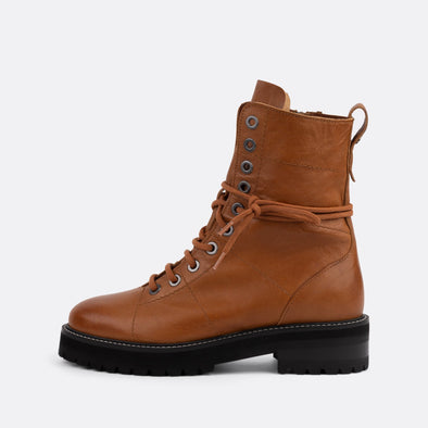Camel leather boots with matching laces.