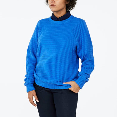Unisex blue sweater made from a wrinkled effect cotton knit.