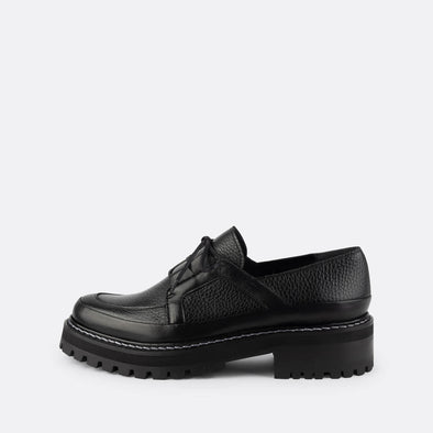 Black leather loafers with matching laces.