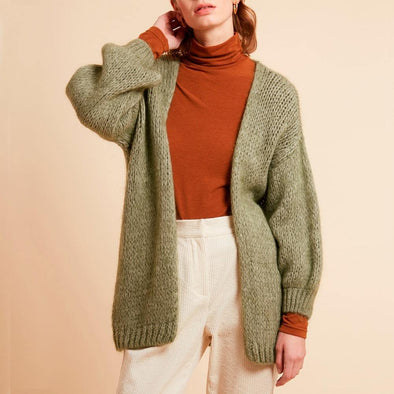 Khaki large mesh cardigan featuring drop-down sleeves.