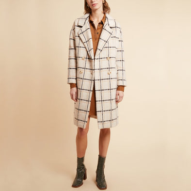 Beige ultra soft long coat with blazer collar and patch pockets.