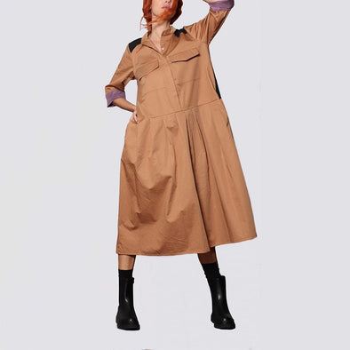 Camel maxi oversize shirt dress featuring contrast color in the back and shoulders with patch pockets and seam pockets.