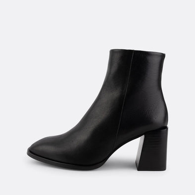 Black nappa heeled booties with round square toe.