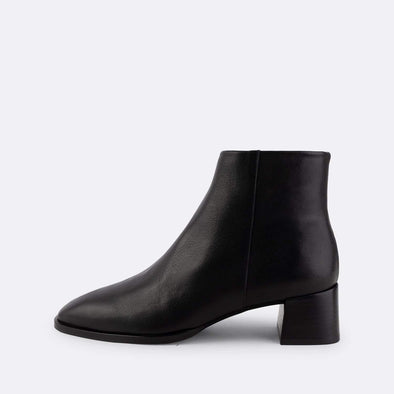 Black nappa short heeled booties with round square toe.