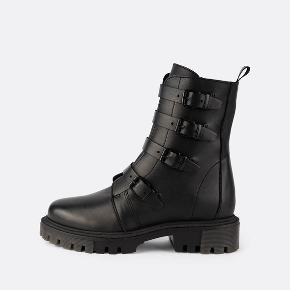 Military black boots with detail buckles on front, chunky sole and side zip fastening.