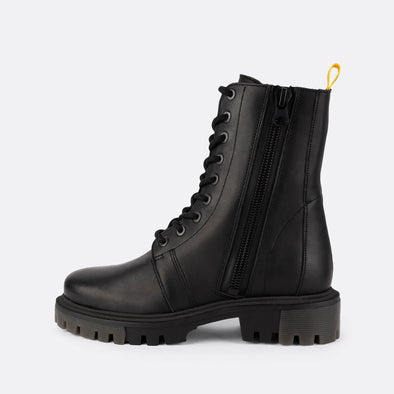 Combat black boots with black laces and side zip fastening.