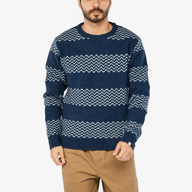 Straight cut two-tone wool sweater.