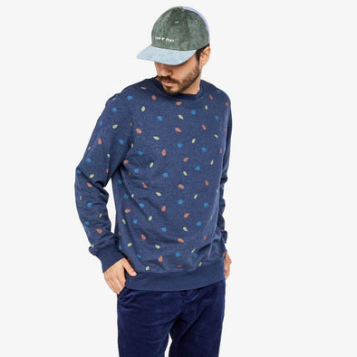 Navy blue sweatshirt with all-over print and elastic ribbing.