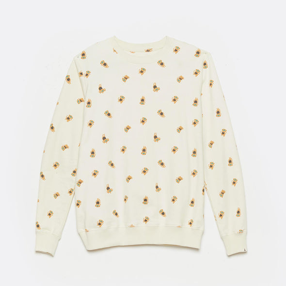 Regular fit organic cotton sweatshirt in beige with all over print.